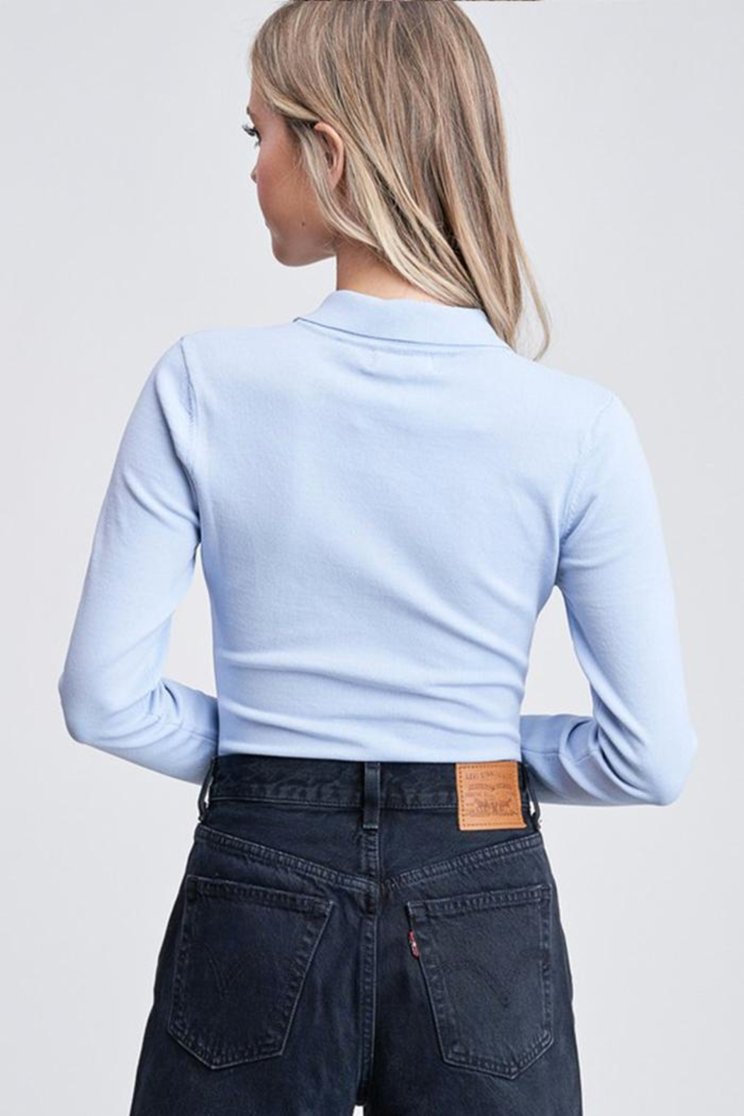 Emory Park Button-Up Sweater Bodysuit - Back Cropped Image
