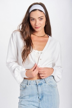 Emory Park Cropped Bubble Sleeve Cardigan - Product List Image
