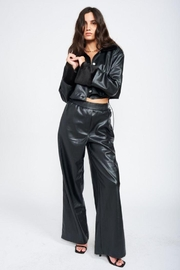 Emory Park Cropped Leather Jacket With Fur - Product Mini Image