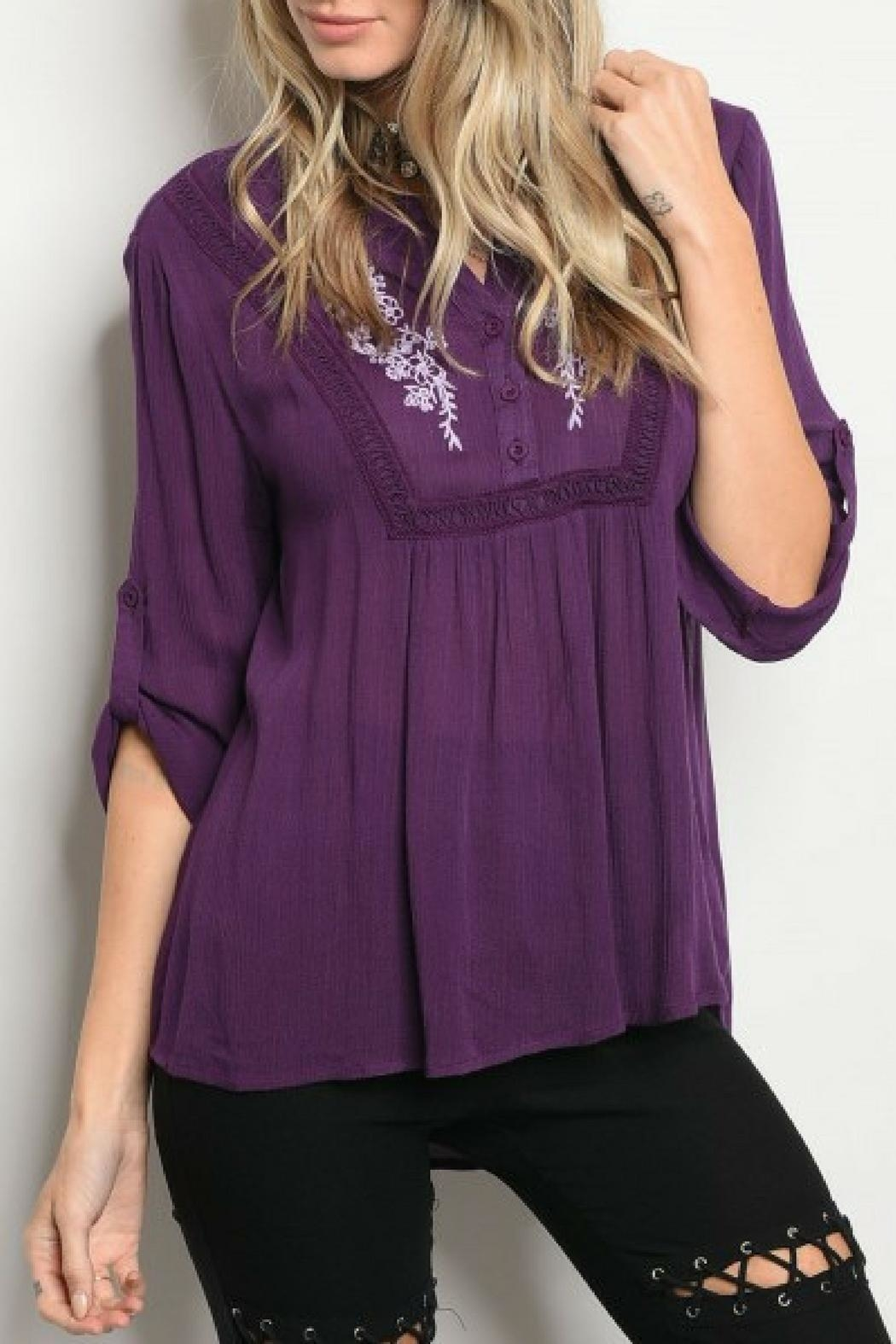 Emory Park Eggplant Embroidered Blouse - Main Image