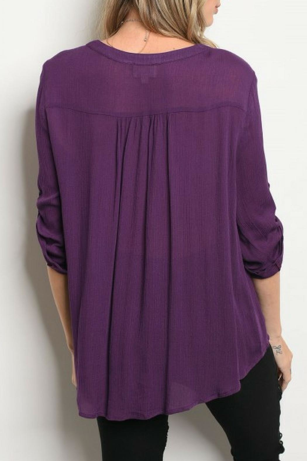 Emory Park Eggplant Embroidered Blouse - Front Full Image