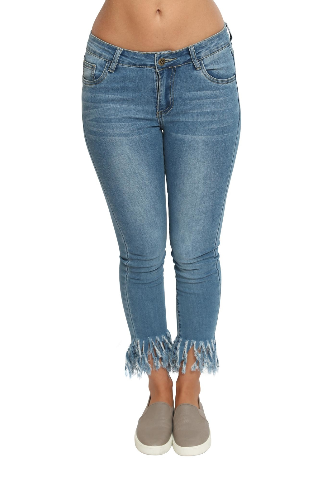 Emory Park Fringed Denim Pants - Side Cropped Image