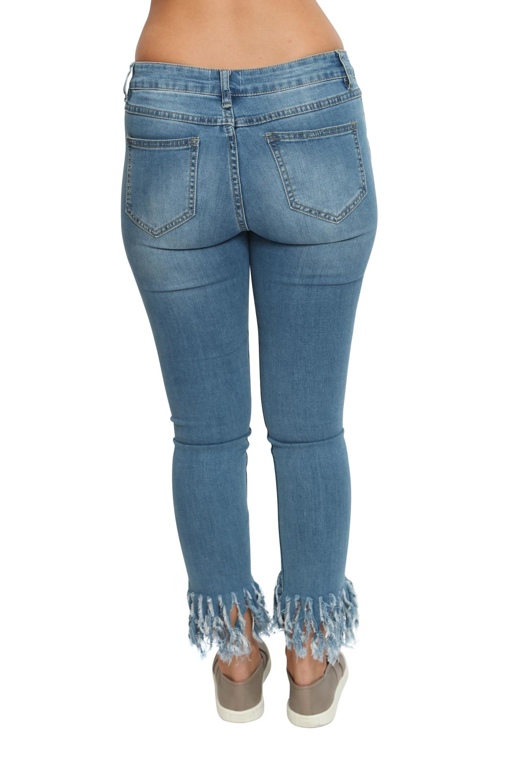 Emory Park Fringed Denim Pants - Back Cropped Image