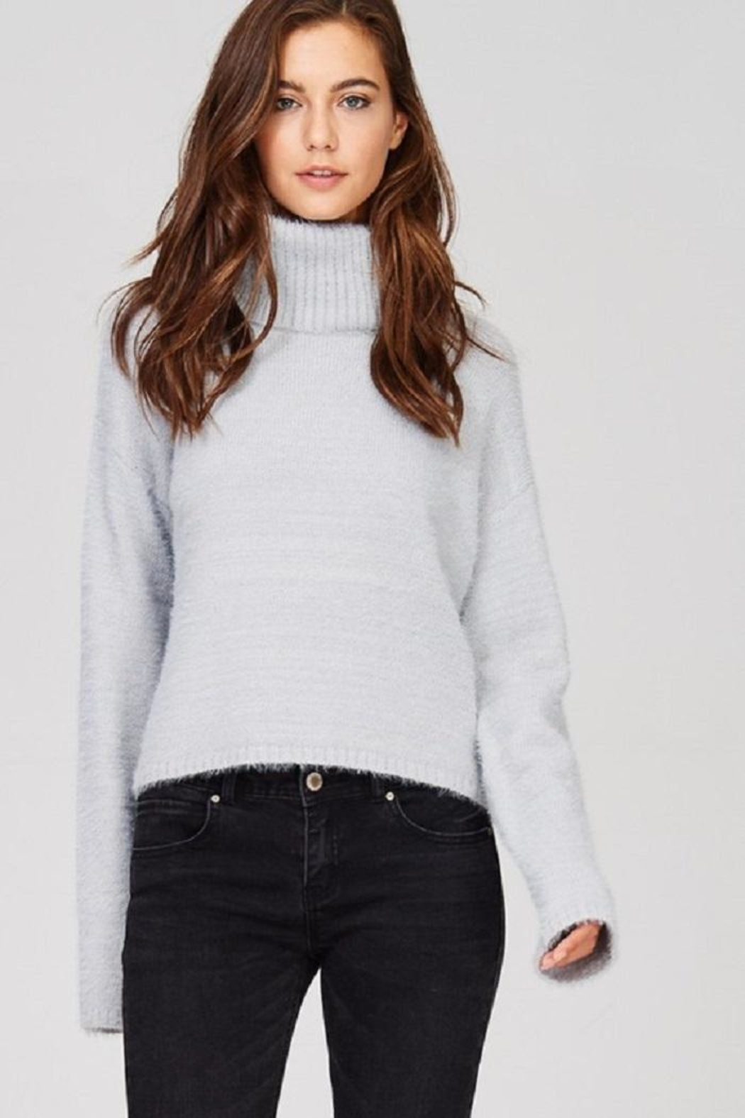 Emory Park Fuzzy Turtleneck Sweater - Front Cropped Image