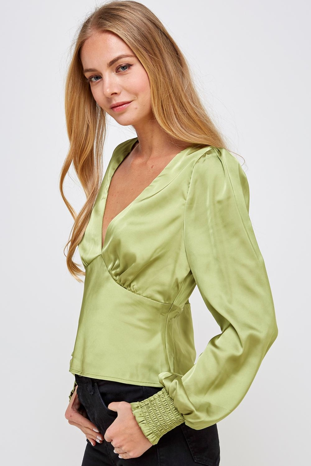 Emory Park Green Satin Blouse - Front Full Image