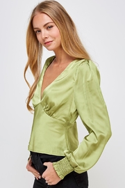Emory Park Green Satin Blouse - Front full body