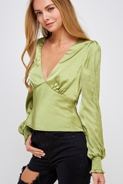 Emory Park Green Satin Blouse - Side cropped