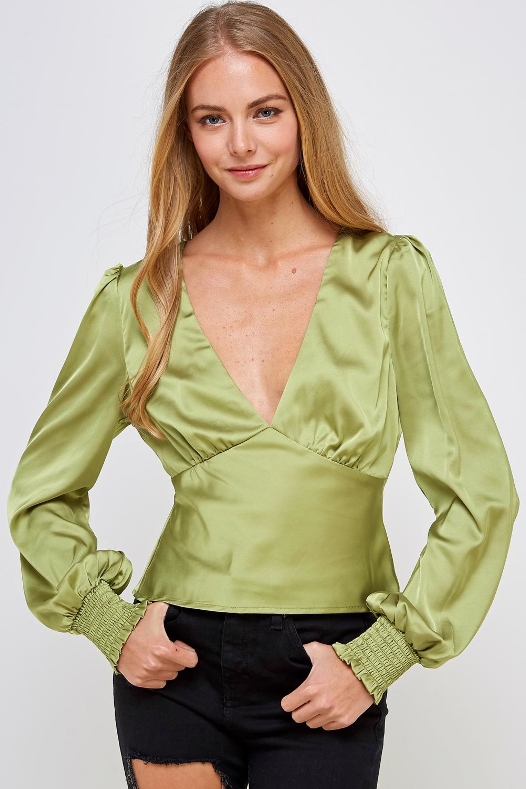 Emory Park Green Satin Blouse - Main Image