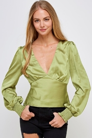 Emory Park Green Satin Blouse - Front cropped