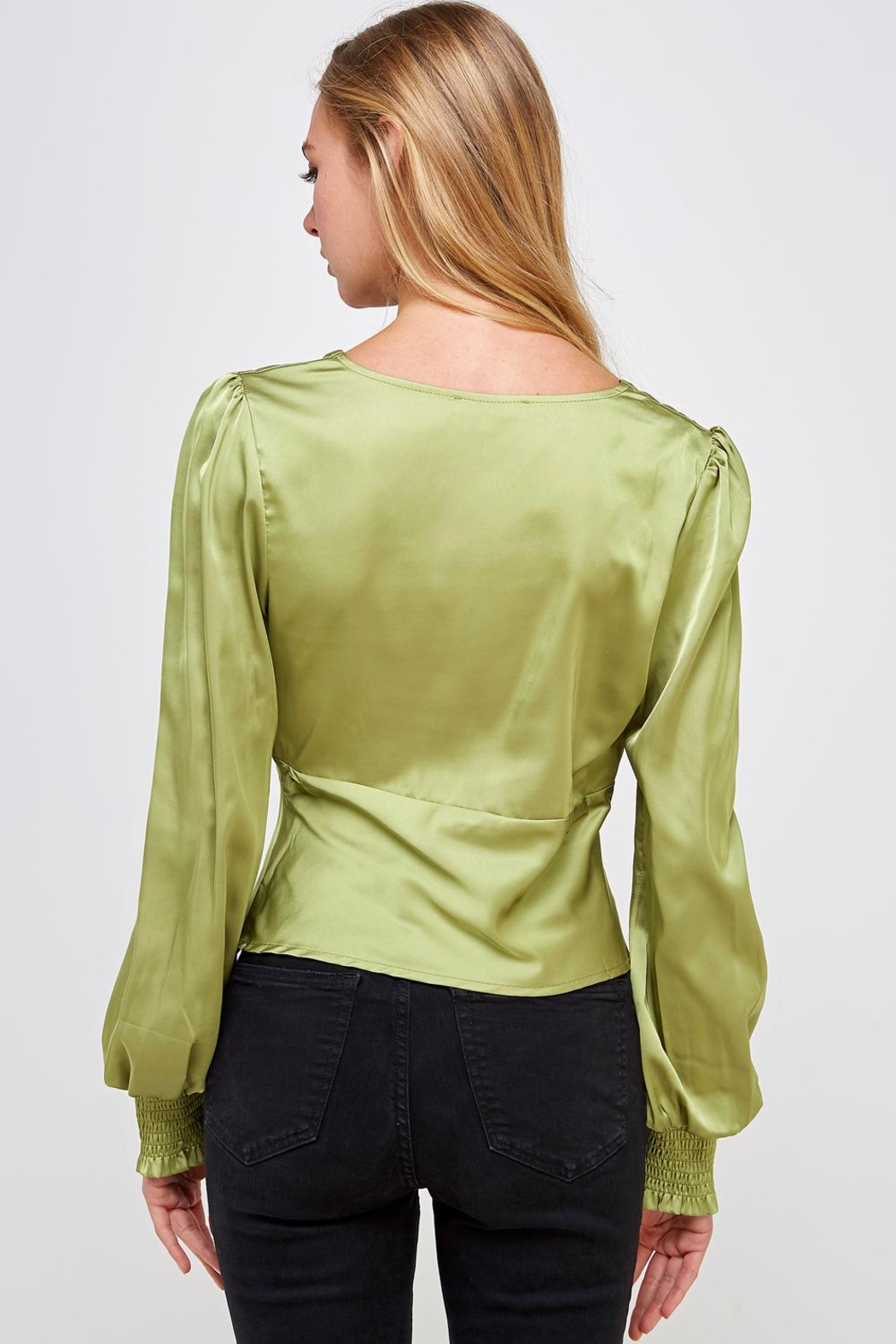 Emory Park Green Satin Blouse - Back Cropped Image