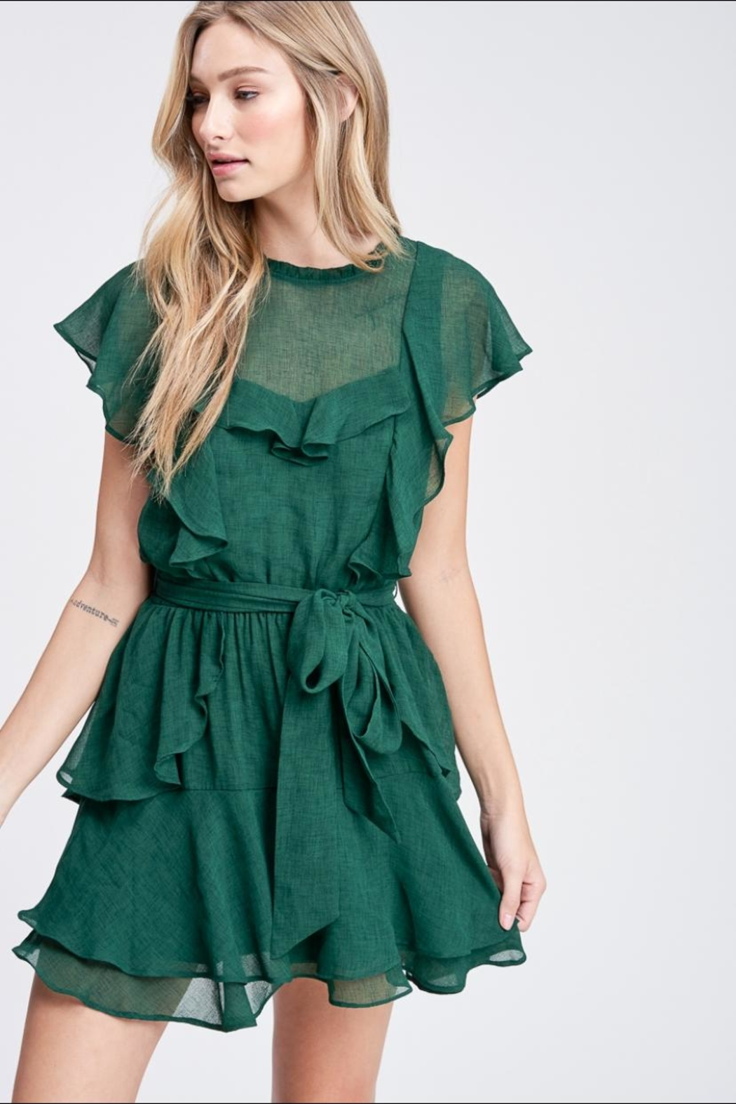 Emory Park Hunter-Green Mini Dress - Main Image