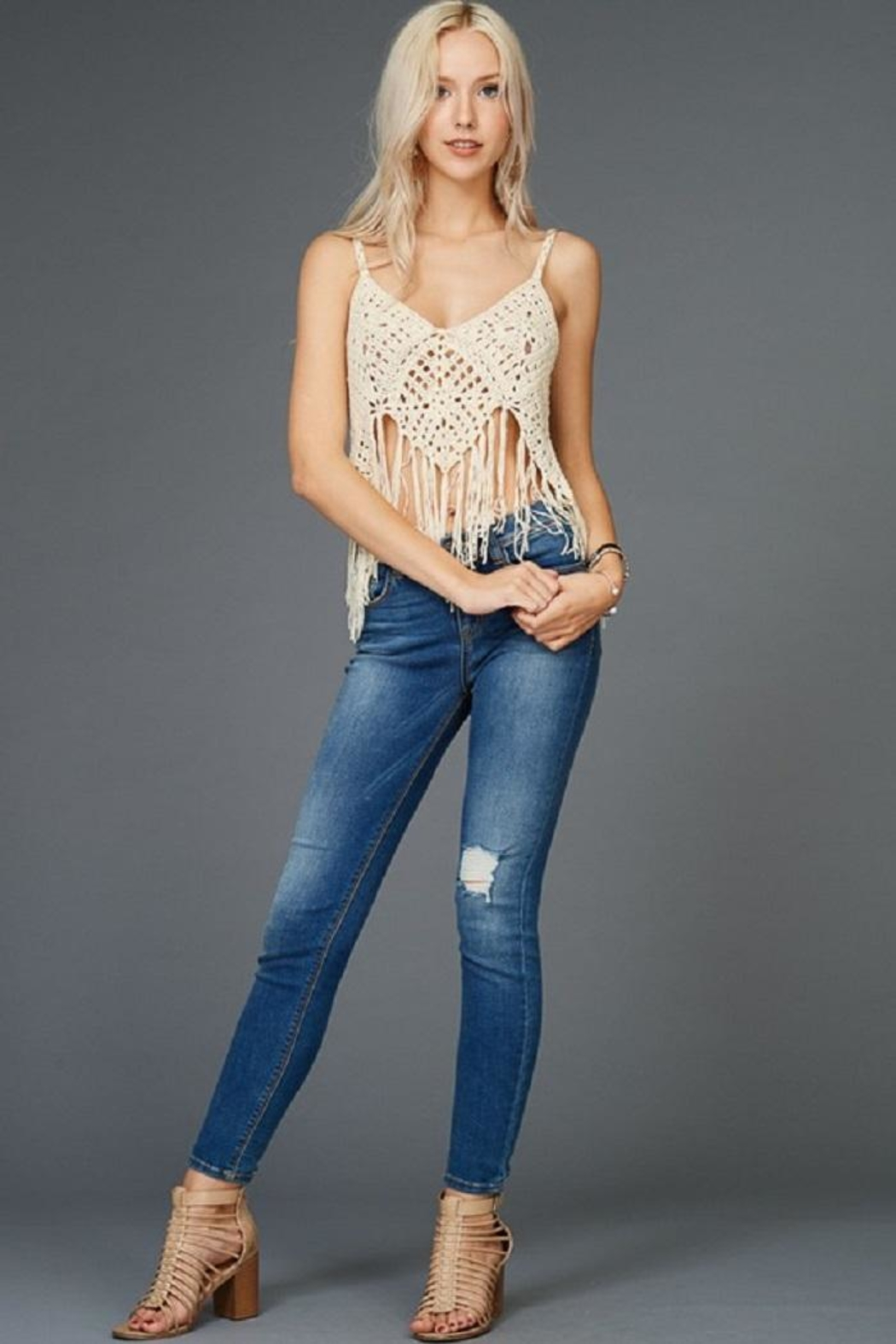 Emory Park Knit Crochet Tank - Front Cropped Image