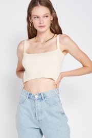 Emory Park Knitted Cropped Top With Spaghetti Straps - Product Mini Image