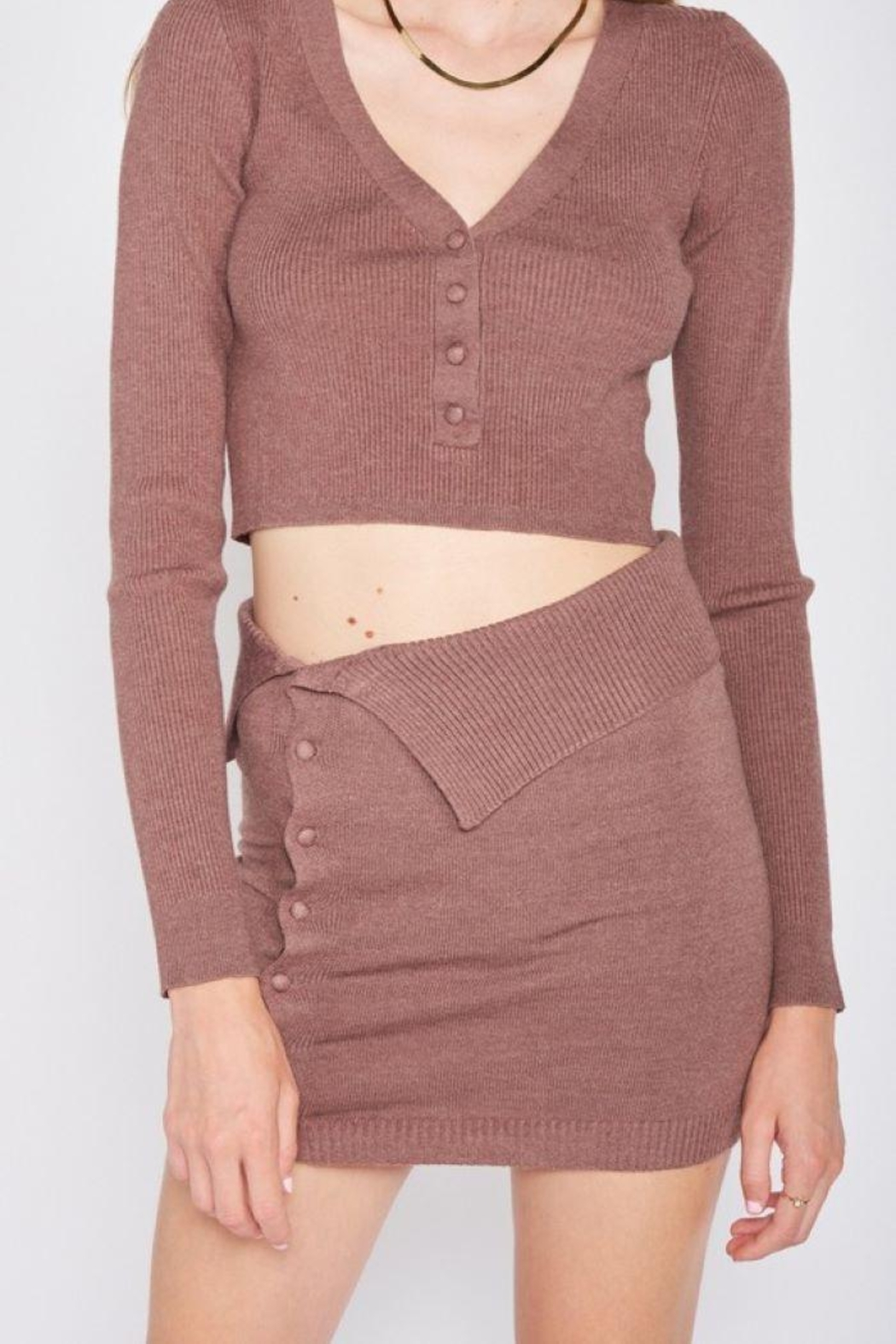Emory Park Knitted Sweater Mini Skirt - Side Cropped Image