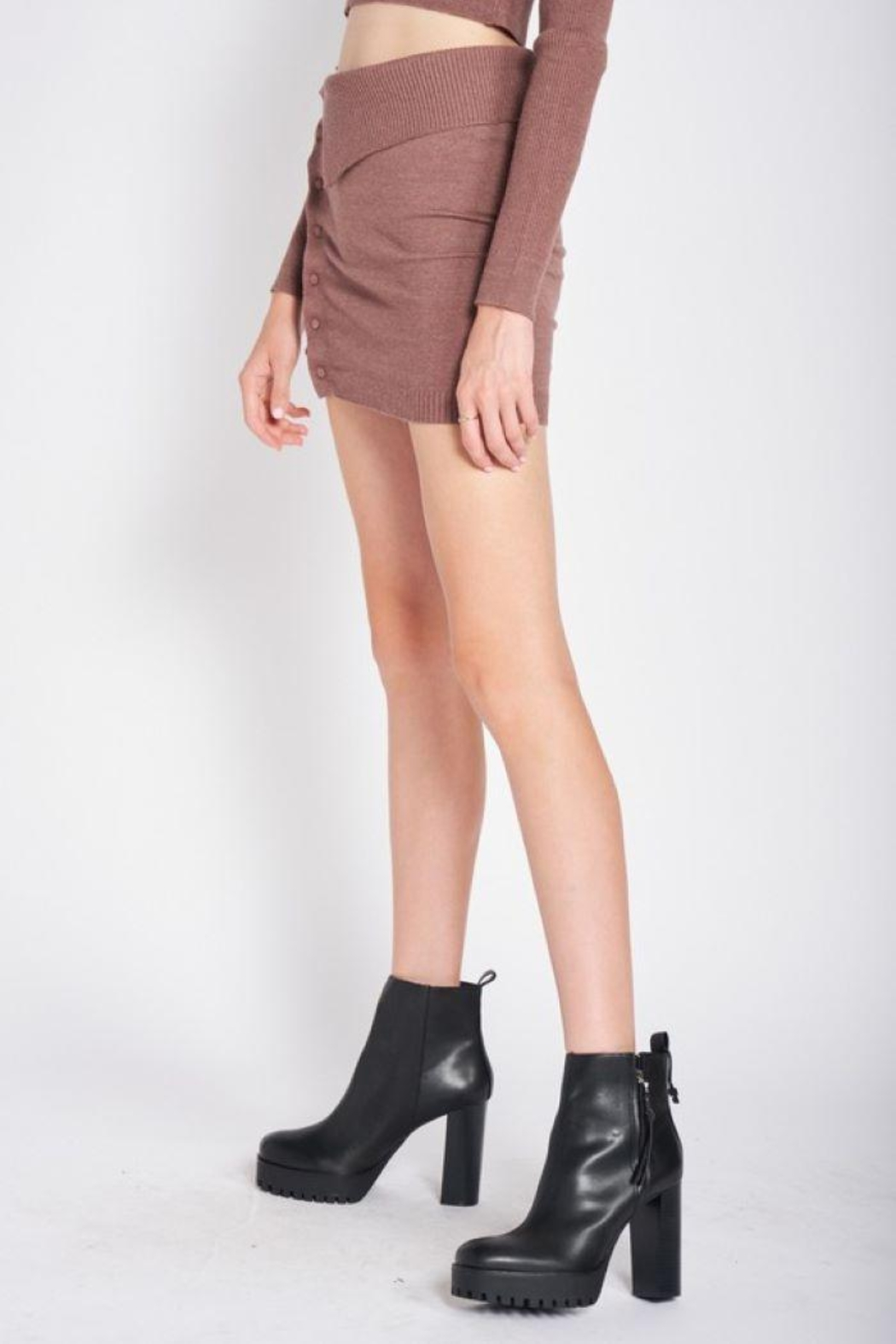 Emory Park Knitted Sweater Mini Skirt - Back Cropped Image