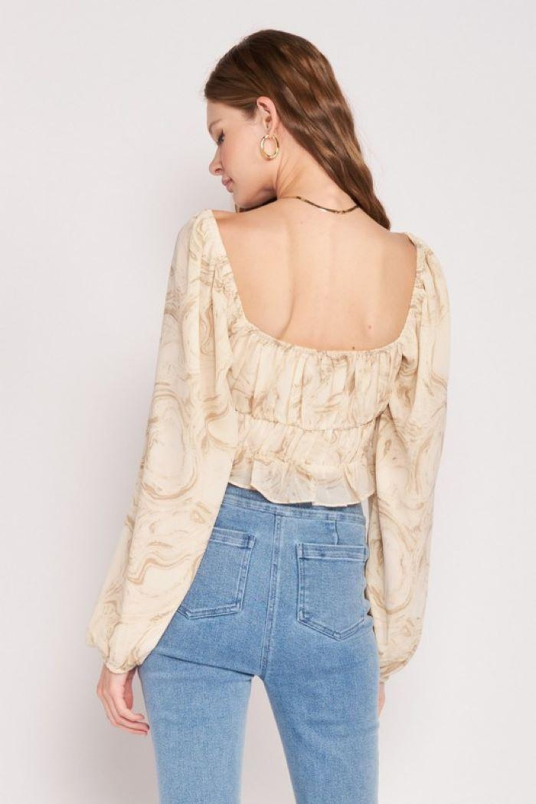 Emory Park Long Sleeve With Ruched Detail Crop Top - Side Cropped Image