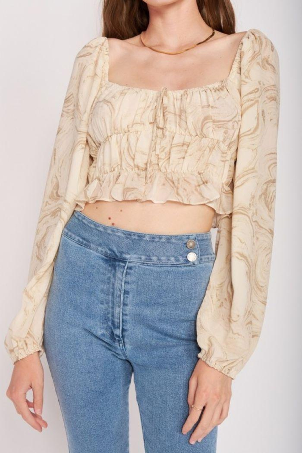 Emory Park Long Sleeve With Ruched Detail Crop Top - Front Full Image