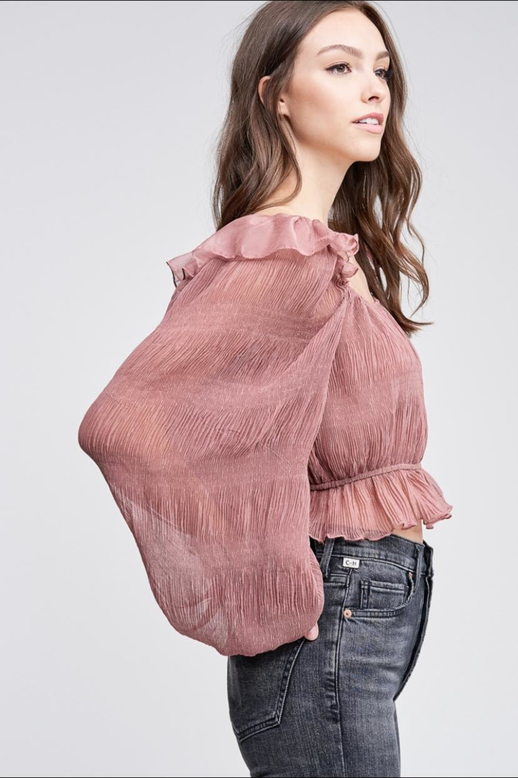 Emory Park Mauve Pleated Top - Front Full Image