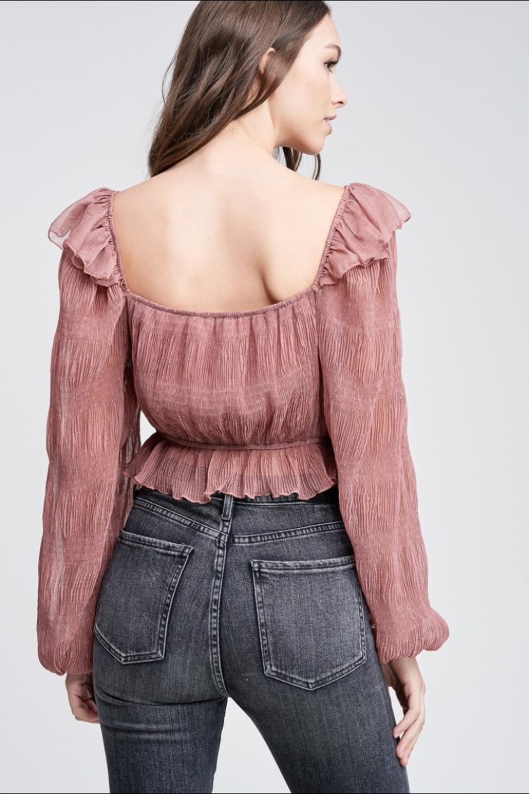 Emory Park Mauve Pleated Top - Side Cropped Image