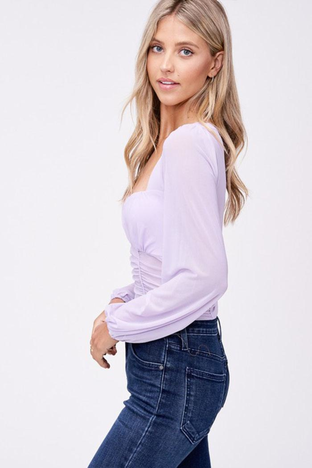 Emory Park Mesh Ruched Blouse - Side Cropped Image