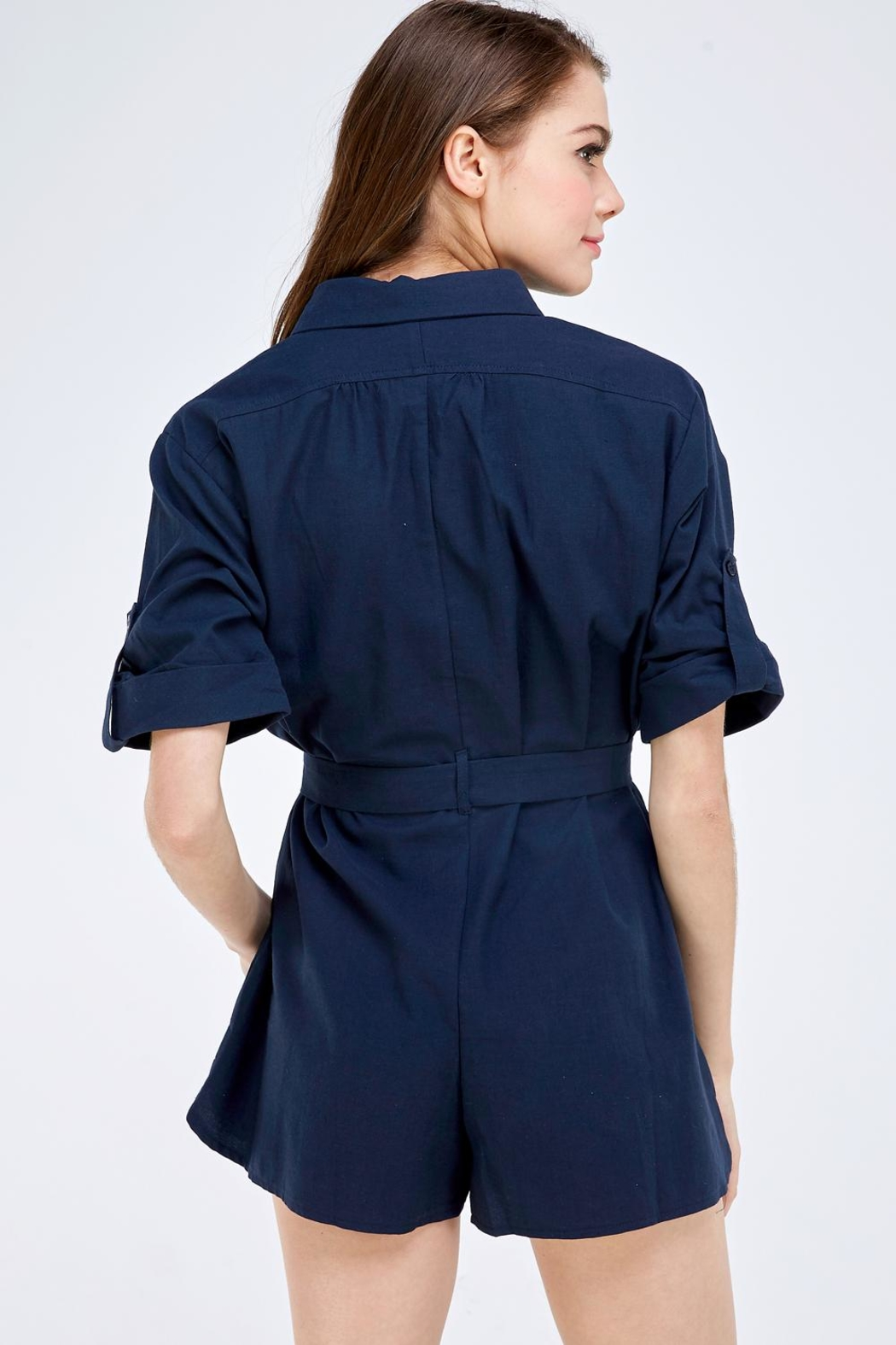 Emory Park Navy Buttondown Romper - Back Cropped Image