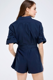 Emory Park Navy Buttondown Romper - Back cropped