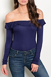 Emory Park Navy Ruffle Bodysuit - Front cropped