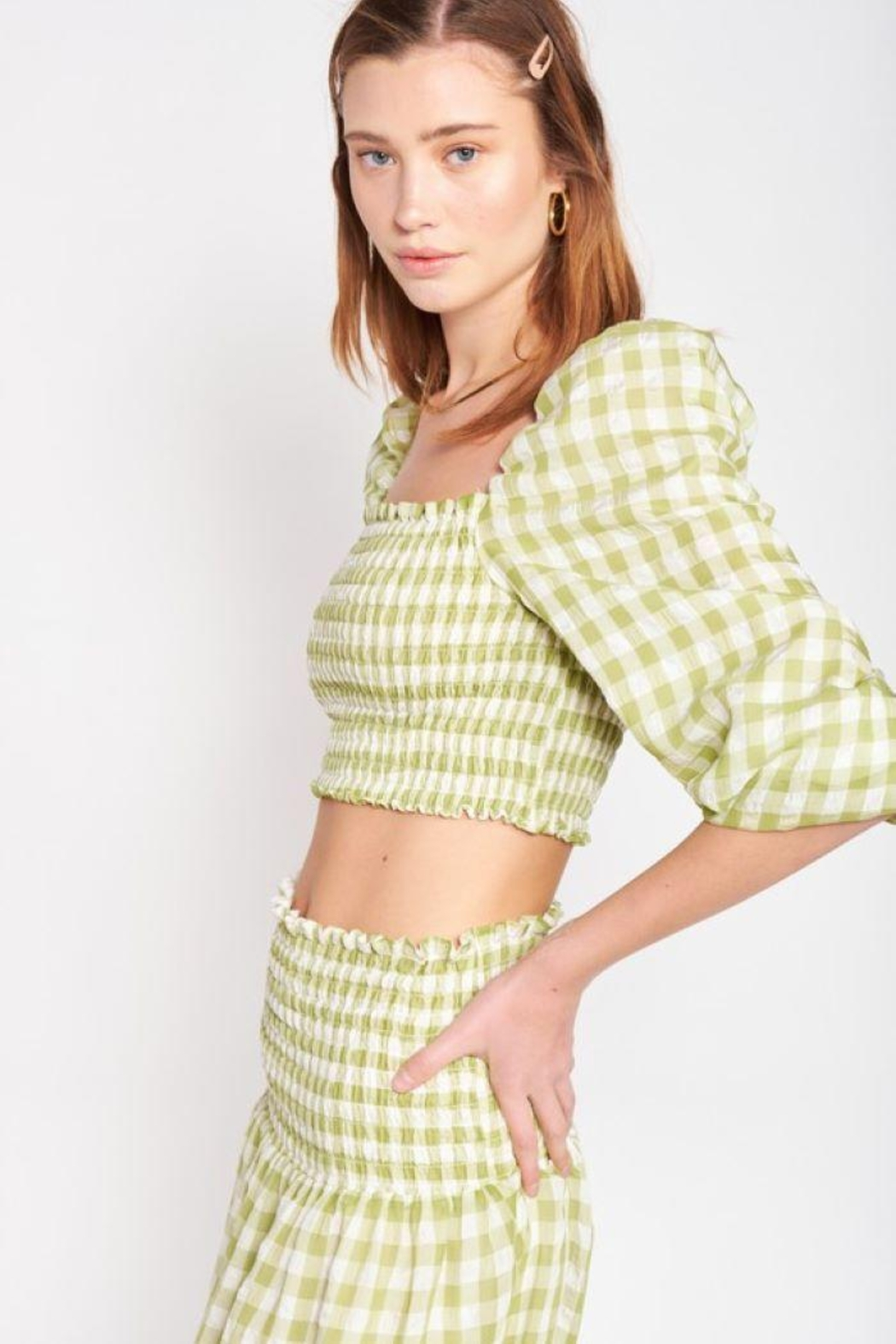 Emory Park Plaid Smocked Crop Top - Front Full Image