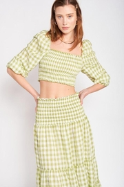 Emory Park Plaid Smocked Crop Top - Product Mini Image