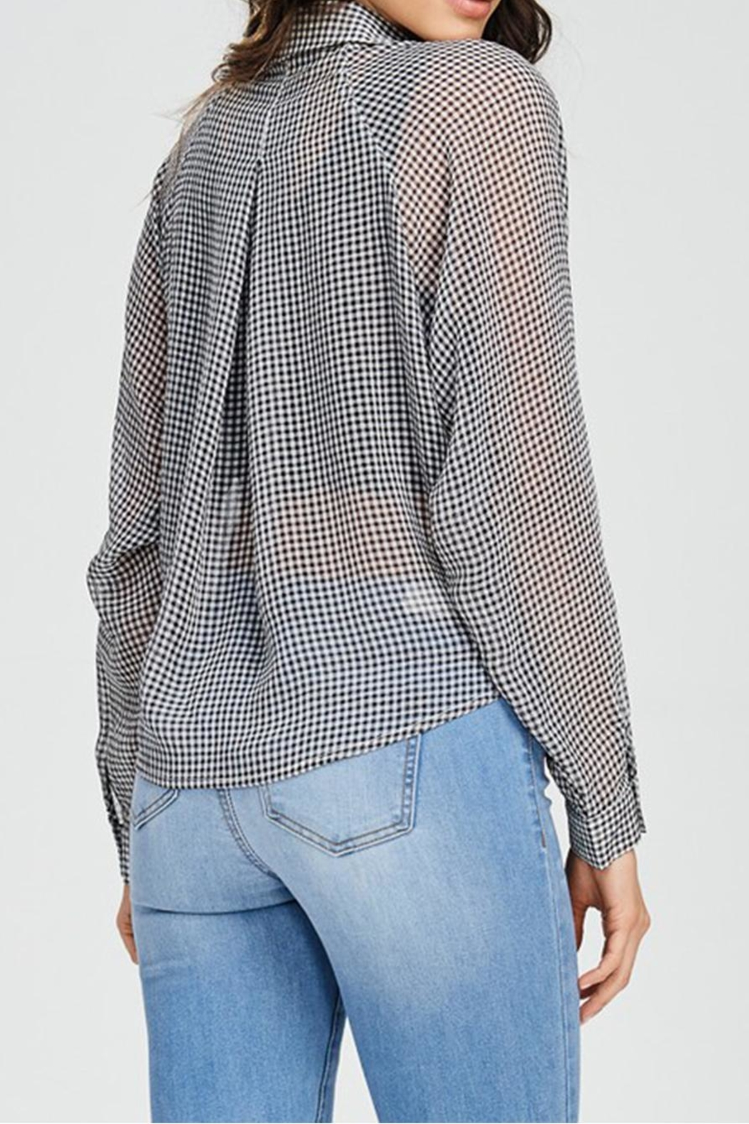 Emory Park Plaid Tie Top - Back Cropped Image