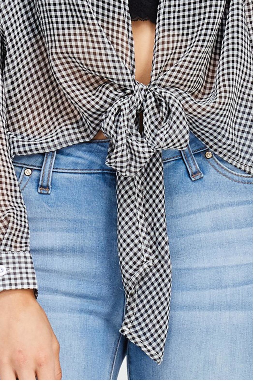 Emory Park Plaid Tie Top - Front Full Image