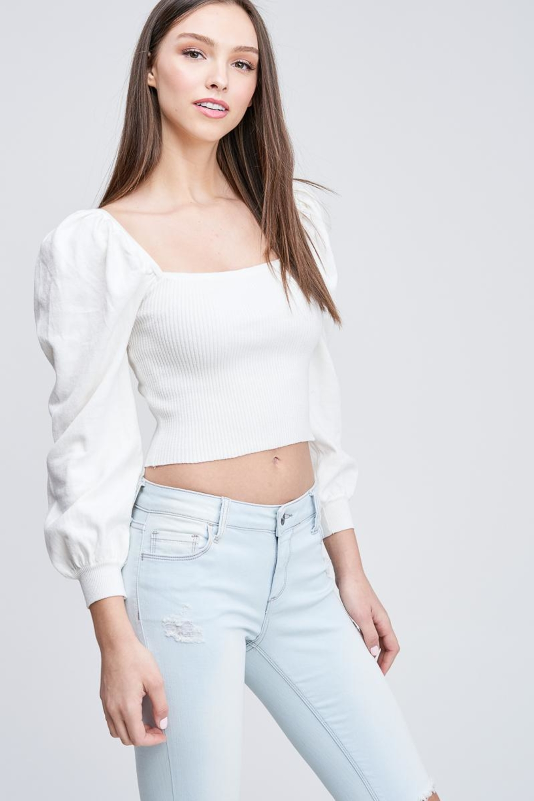 Emory Park Ribbed Crop Top - Front Full Image