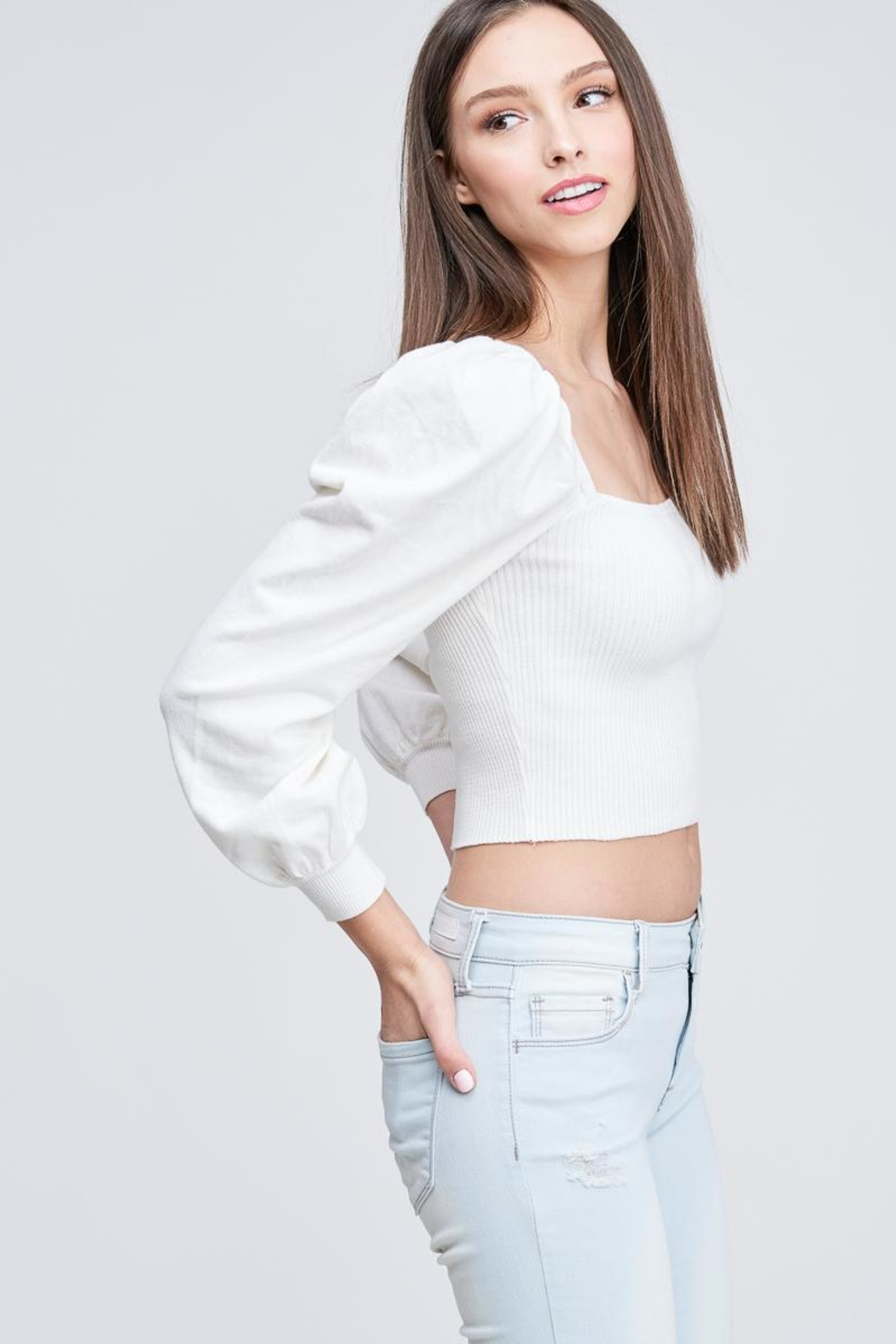 Emory Park Ribbed Crop Top - Side Cropped Image