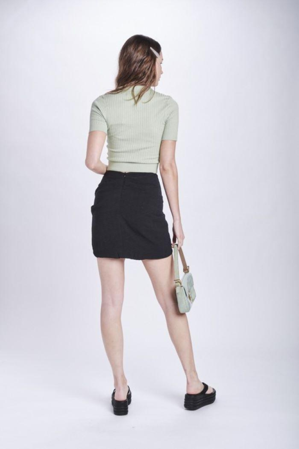 Emory Park Sarong Look Twist Front Mini Skirt - Back Cropped Image
