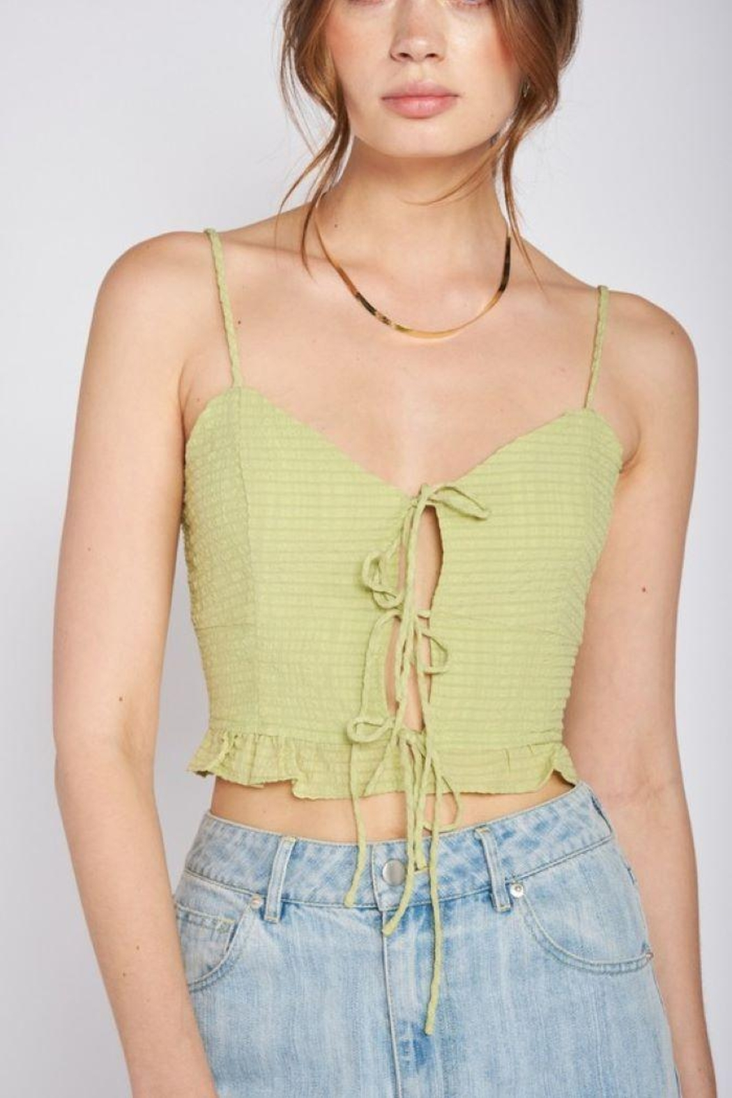 Emory Park Spaghetti Strap Tie Front Top - Main Image