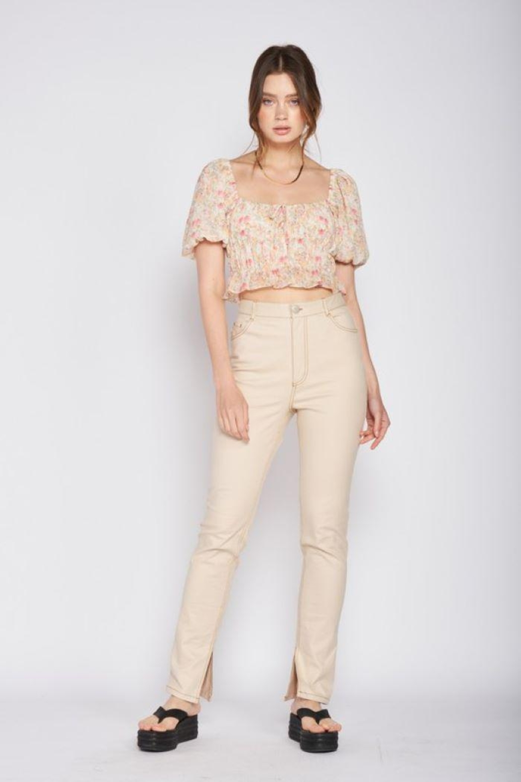 Emory Park Straight Twill Pants With Side Slit - Main Image