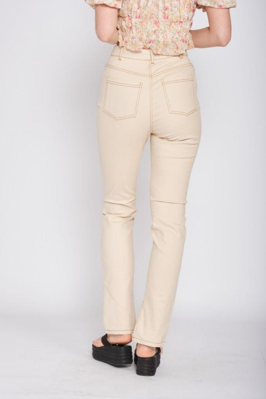 Emory Park Straight Twill Pants With Side Slit - Side Cropped Image