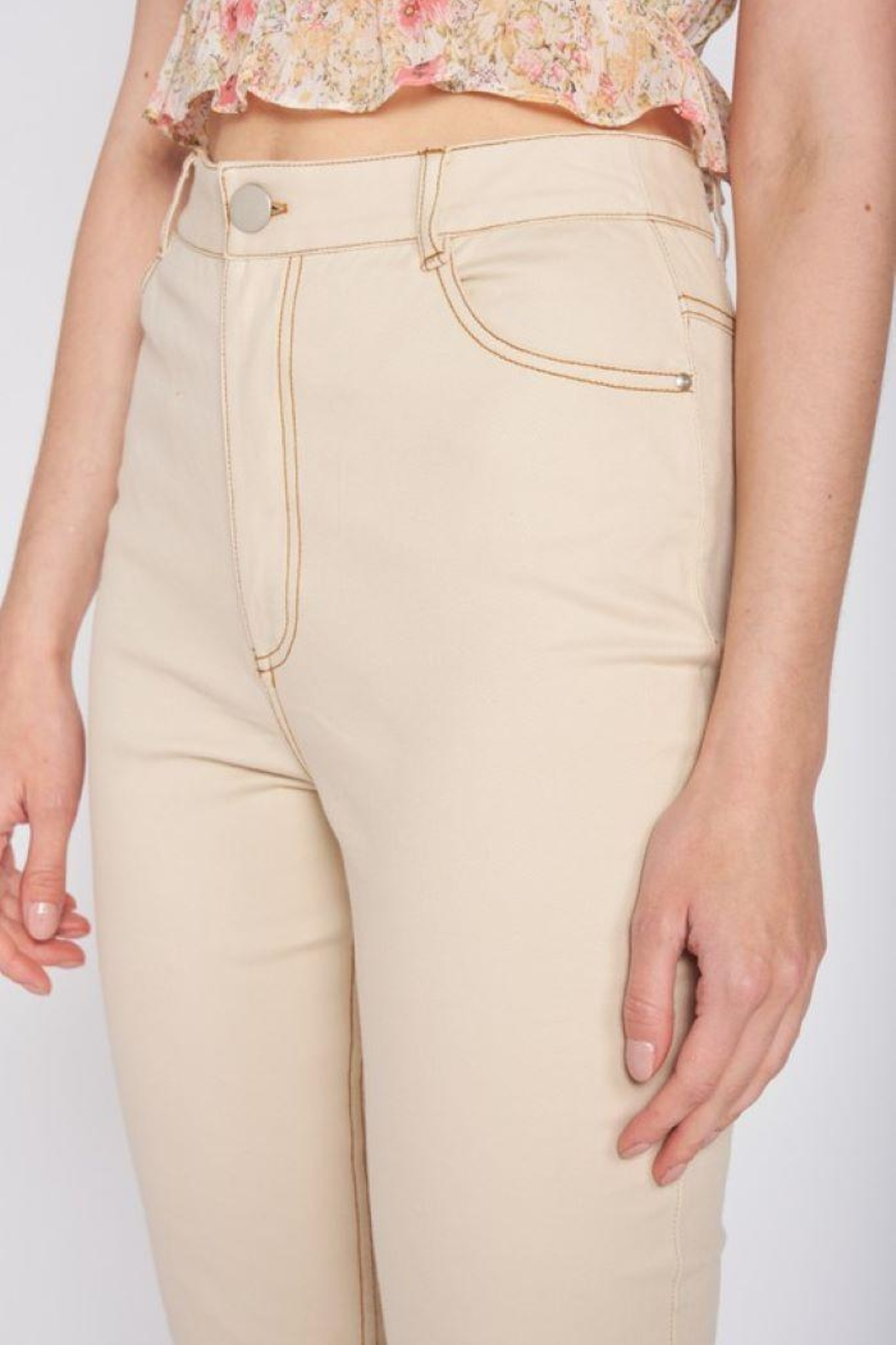 Emory Park Straight Twill Pants With Side Slit - Back Cropped Image