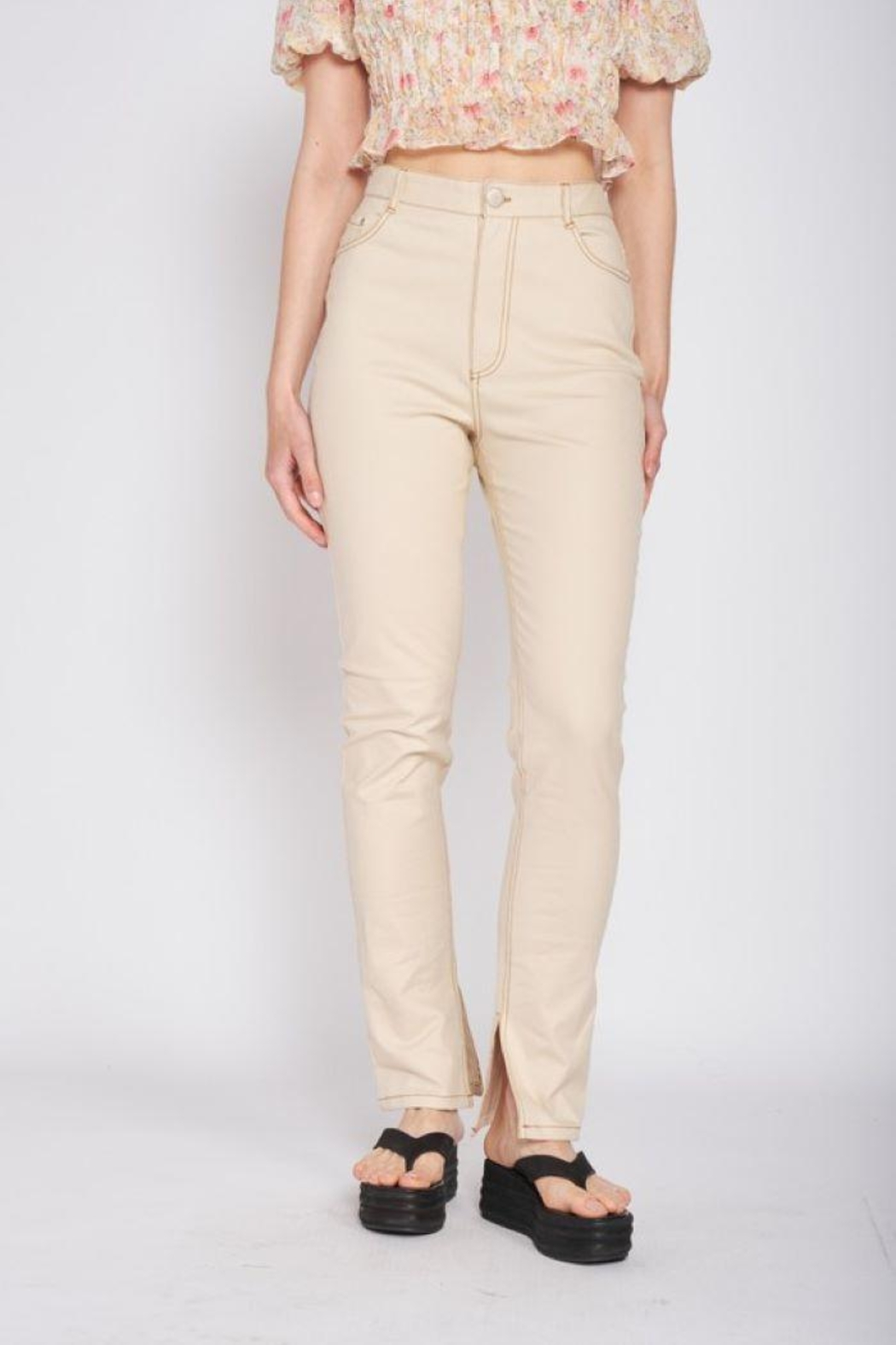 Emory Park Straight Twill Pants With Side Slit - Front Full Image