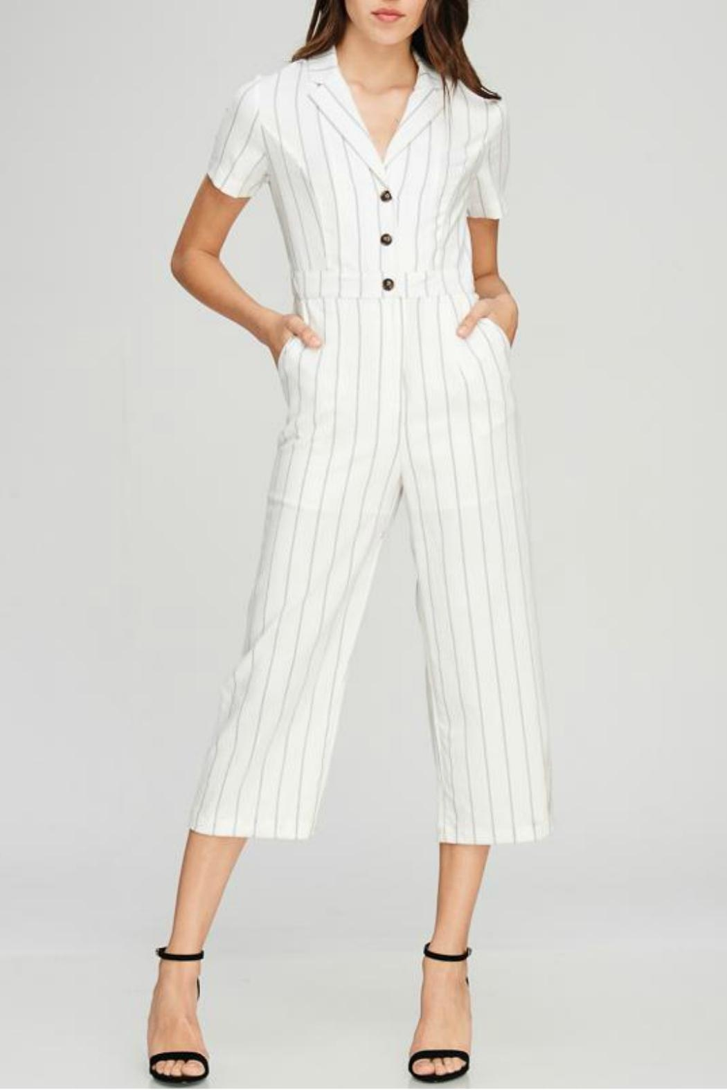 Emory Park Stripe Collared Jumpsuit - Main Image