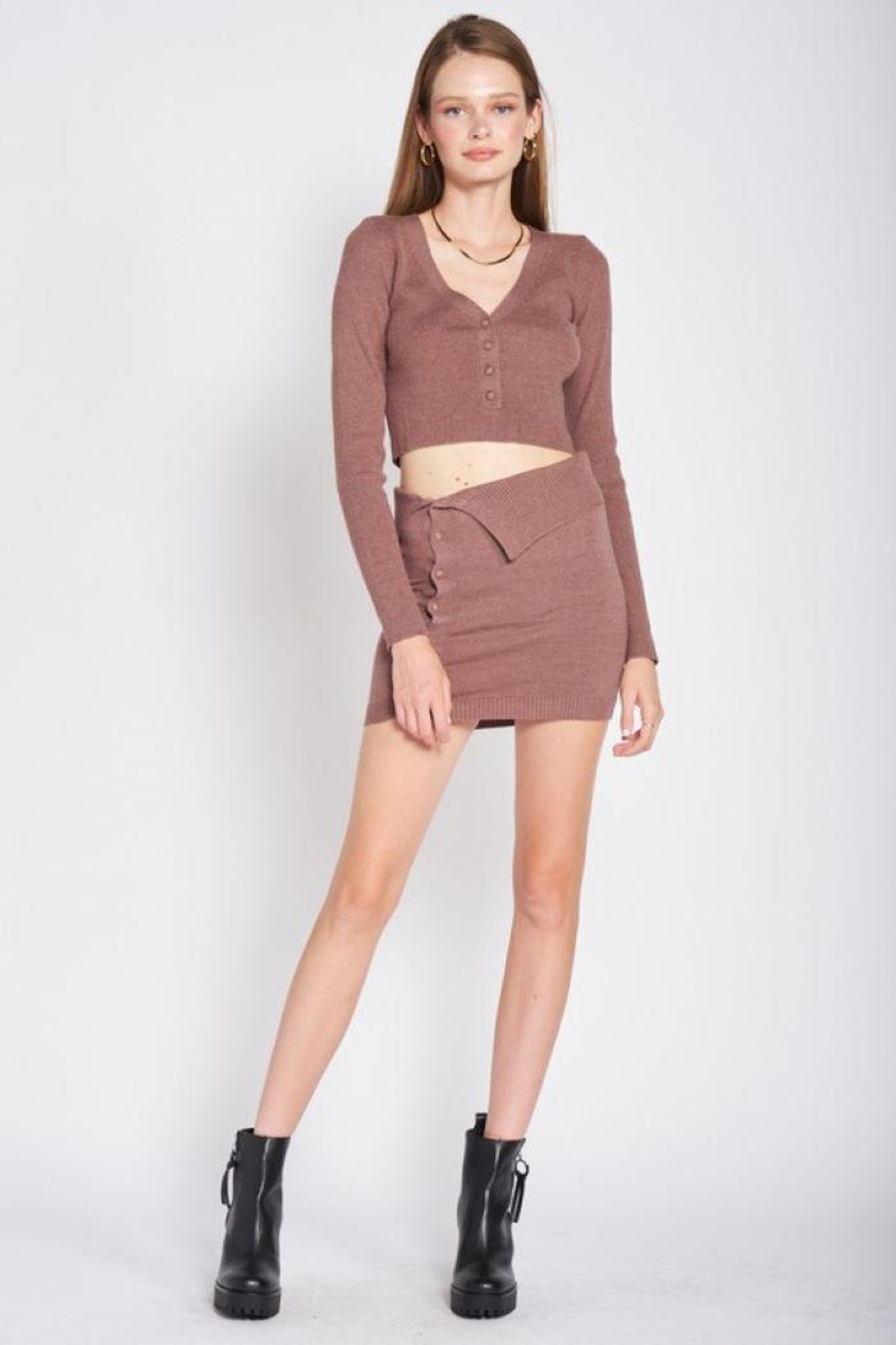 Emory Park Sweater Button Down Crop Top - Main Image