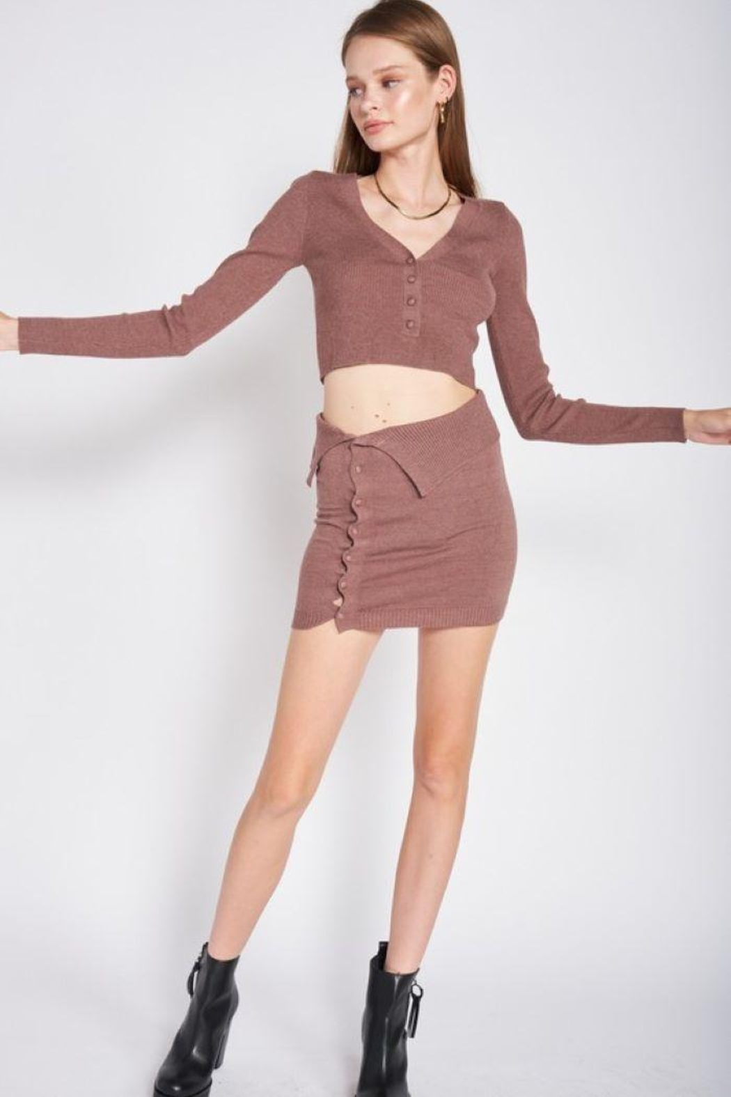Emory Park Sweater Button Down Crop Top - Front Full Image