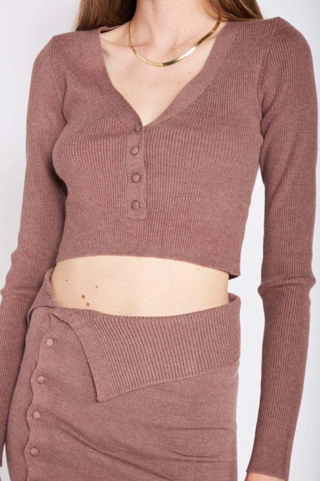 Emory Park Sweater Button Down Crop Top - Side Cropped Image