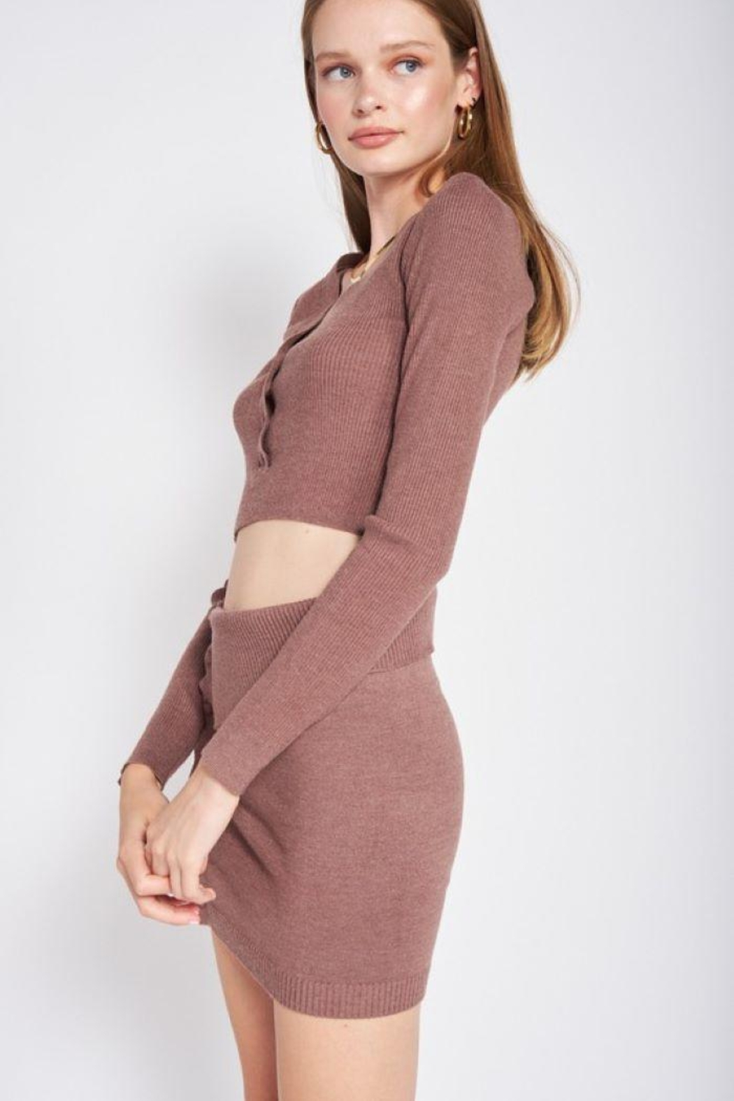 Emory Park Sweater Button Down Crop Top - Back Cropped Image