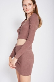 Emory Park Sweater Button Down Crop Top - Back cropped