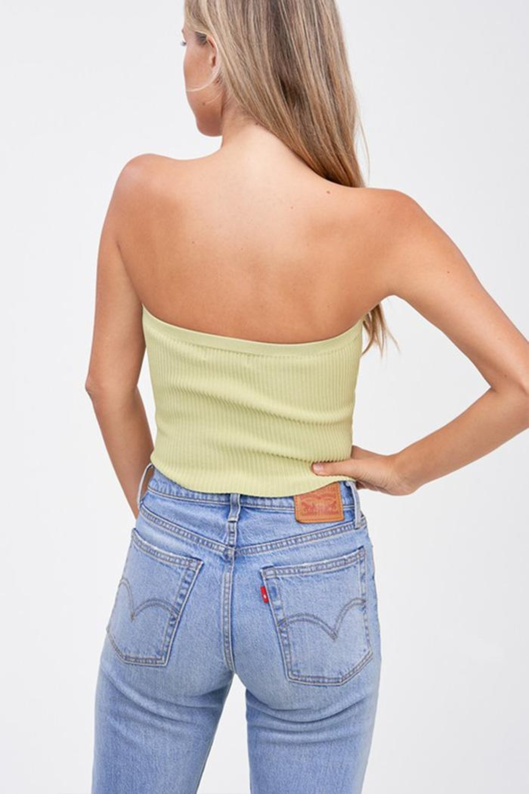 Emory Park Sweater Tube Crop-Top - Front Full Image