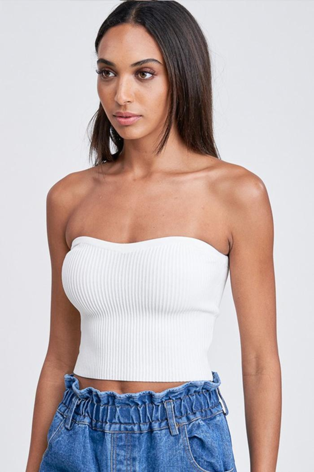 Emory Park Sweater Tube Top - Front Full Image
