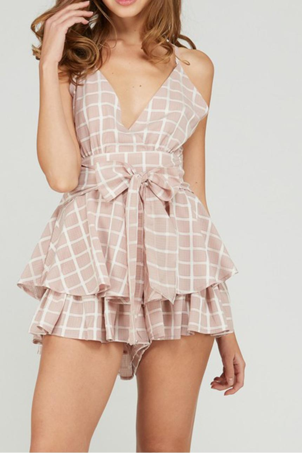 Emory Park Tie Front Romper - Front Cropped Image