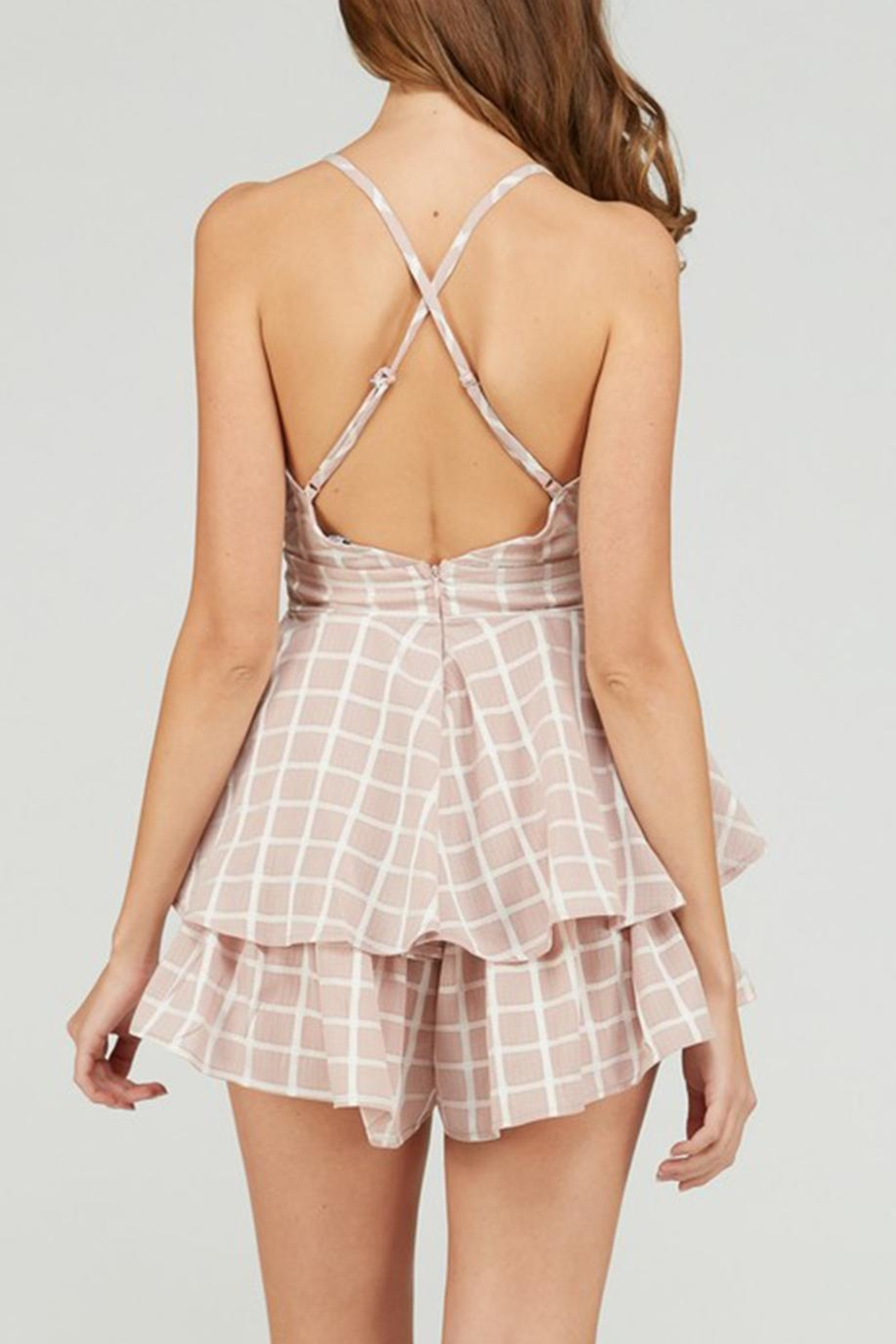 Emory Park Tie Front Romper - Back Cropped Image