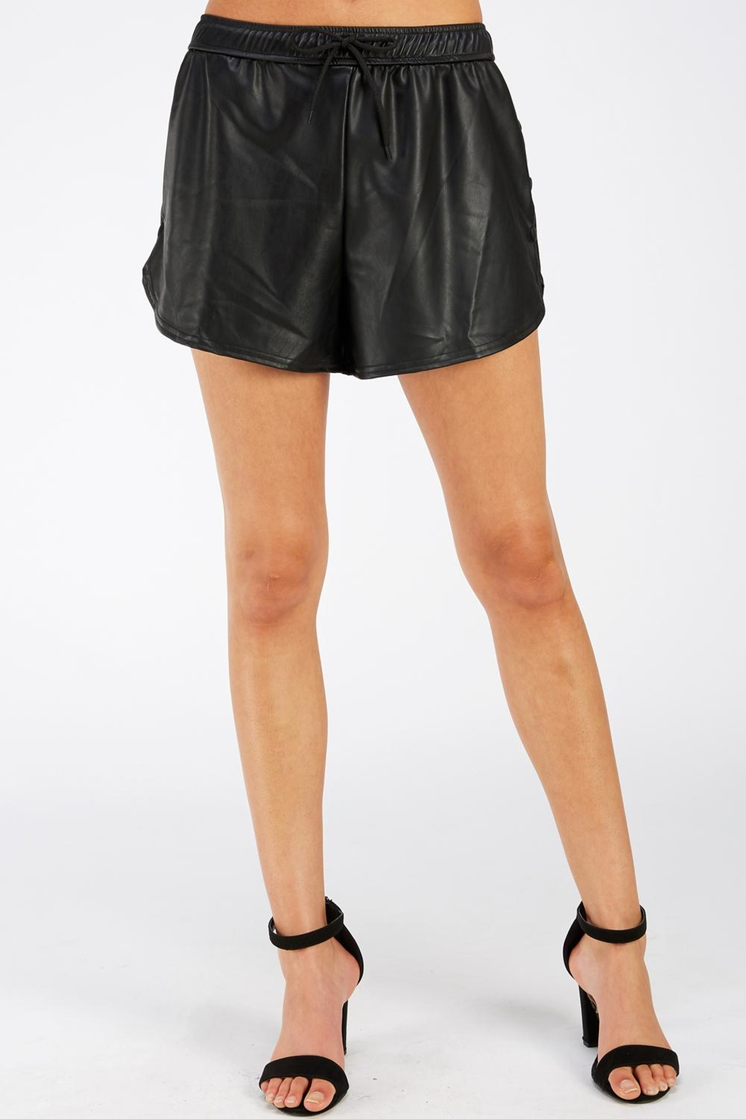Emory Park Vegan Leather Shorts - Front Cropped Image
